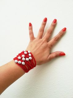 Red Hand-crochet Rope Bracelet with silvery beads, beach, boho, lolita, wristband, wriststrap