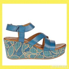 Naya Nalani royal blue platform wedges. Cute! Adorable summer platform wedges. Leather upper, cushioned leather footbed, hook and loop strap. Floral design on distressed cork platform.  Rubber sole. Heel is appx 2 and 3/4 inches. Previously loved but still in good condition. Comfy and stylish shoes. Nalani Naya Shoes Platforms