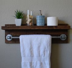 "Industrial Modern Rustic Bathroom Wall Shelf with 24"" Metal Towel Bar by KeoDecor on Etsy https://www.etsy.com/listing/193044855/industrial-modern-rustic-bathroom-wall"