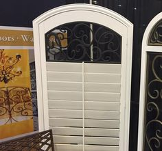 Decorative Faux Wrought Iron shutter insert / covering design, enhances the look of any custom interior shutter. Interior Shutters, Creative Home, Wrought Iron, Great Rooms, Space Saving, Home Interior Design, Home Remodeling, Color Schemes, Homes