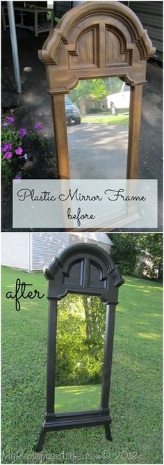 re-do a plastic mirror frame with homemade chalk paint