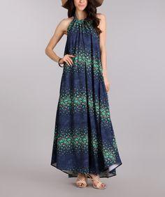 Look what I found on #zulily! Blue & Green Floral Halter Maxi Dress #zulilyfinds