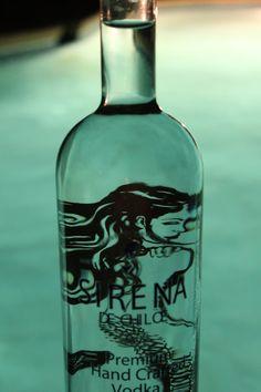 Sirena de Chiloe is a Chilean potatoe vodka made on Isla San Pedro, Chile.  Chile, Santiago, Quellon, papas, mermaid