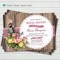 Rustic Bridal Shower Invitation. Rustic wood floral bird and doily elegant bridal shower invitation. Bridal Tea, Bridal Luncheon invite BW21...