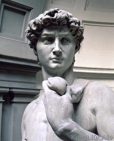 Michelangelo Buonarroti - Detail of David, head of sculpture by Michelangelo Buonarroti (1475-1564), 1501-4