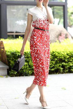 Print Stand Neck Short Sleeve Belted Dress