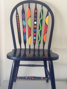 funky painted dining chairs   Painted chair dark grey op art