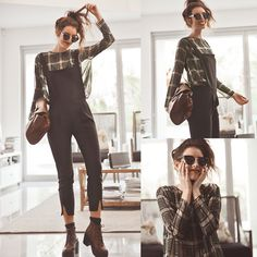 Split End Overall Jumpsuit, Prep Check Blouse, Retro Inspired Black Shades, Brown Lace Up Boots