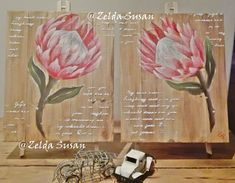 Acrylic on wood. With textured cursive wording on washed background Protea Art, Olie, Wood Canvas, Cursive, Brush Strokes, Decoupage, Goodies, Arts And Crafts, African