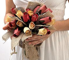 Bridal Rustic Bouquet   Burlap and Wooden Flowers by LenaWeddings, $45.00