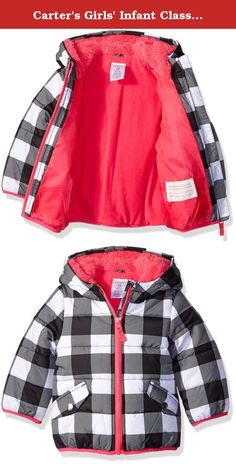 Carter's Girls' Infant Classic Heavyweight Puffer, Plaid/Black, 24 Months. Classic heavyweight puffer jacket with sherpa lined hood.