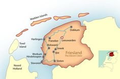 Map of Friesland and the eleven cities connected by canals, with descriptions of each city, including where to stay and what to see.