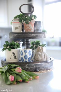 Spring Kitchen via House by Hoff Farmhouse Side Table