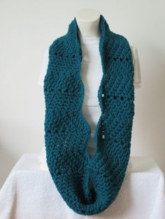 Chunky Infinity Wavy Scarf,Thick and Warm and Chunky - Teal Real...Free Matching beanie hat with pom poms by VansBasicWear on Etsy