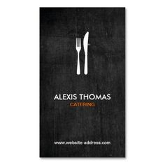 Fork and Knife Logo for Catering, Chef, Restaurant Business Card Template. This is a fully customizable business card and available on several paper types for your needs. You can upload your own image or use the image as is. Just click this template to get started!