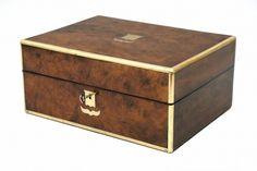 Brass bound walnut jewelry box with removable tray. England, c1860.