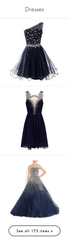 """""""Dresses"""" by nik4906 ❤ liked on Polyvore featuring dresses, one-sleeve dress, blue prom dresses, beaded dress, prom dresses, one shoulder cocktail dress, short dresses, vestidos, navy blue and navy blue dress"""