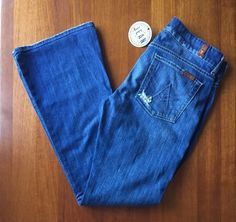 NWOT 7FAM 7 For all Mankind Womens Sz 29 A Pocket Flip Flop in Baywater Blue…