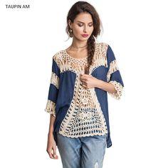 Escavar solto roupas de crochê para as mulheres da praia do Verão blusas o pescoço meia manga de linho estilo étnico blusa chemise TA7ZY1616 em Blusas & Camisas de Das mulheres Roupas & Acessórios no AliExpress.com | Alibaba Group
