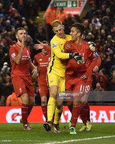 Roberto Firmino of Liverpool celebrates his goal during the Barclays Premier League match between Liverpool and Manchester City at Anfield on March 2, 2016 in Liverpool, England.