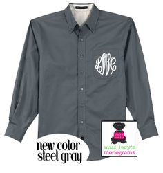 just added to our gorgeous line of oversized men's shirts - the color, STEEL GRAY - gray and white wedding ?   perfect !     http://misslucysmonograms.com/oversized-mens-monogrammed-shirt-for-brides-bridesmaids-college-girls-ladies/