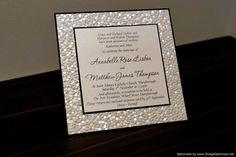 Black & Ivory / White Pebble Embossed Wedding Invitation by StunningStationery, on Etsy