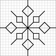 Twinchy Snowflake 4, designed by @jan issues Wilke Perry (Napa Needlepoint), Nuts About Needlepoint blogger. This snowflake pattern was used in @Lesley Howard Howard Bousbaine, tintocktap blogger's Snowflakes in the Snow 15-sided biscornu.