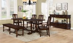 Built with style and class, this cherry wooden set will effectively fine tune any dining room. Seating up to 6 guests, all will joyfully have a warm meal and fun conversations on this beautiful dining table that is decorated with wood etchings located in various locations. Contoured matching chairs and bench added for comfort and charm which can be easily to match in contemporary or vintage styled homes.