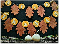 Easy DIY Fall Thanksgiving Banner  http://twelveoeight.blogspot.com/2012/10/diy-thanksgiving-banner.html