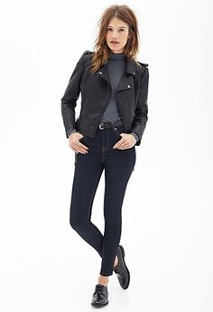 Belted Faux Leather Moto Jacket   FOREVER 21 - 2000060009