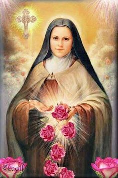 St Therese of Lisieux.Pray for Us+ Catholic Prayers, Catholic Art, Catholic Saints, Sainte Therese De Lisieux, Ste Therese, Religious Pictures, Religious Icons, Religious Art, Happy Feast Day