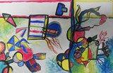 Grade 4 Kandinsky Red, Yellow Blue Painting