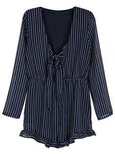 Blue Stripe Tie Front Ruffle Long Sleeve Romper Playsuit