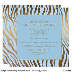 Surprise Birthday Party Blue Gold Zebra 13 Cm X 13 Cm Square Invitation Card