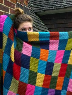 'School Colours' blanket (pattern in the knitting book) which is knitted as five scarves that are then sewn togethe