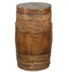 American Wooden Stave Apple Barrel, with finger jointed wooden rings, having branch repair at bottom, 30 Primitive Antiques, Country Primitive, Apple Barrel, Blanket Chest, Wooden Rings, Auction, Rustic, Buckets, Vintage