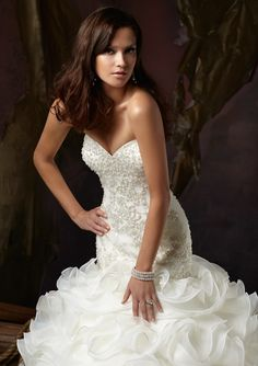 Elegant Mermaid Sweetheart Beaded Organza Chapel Wedding Dress - Uniqistic.com
