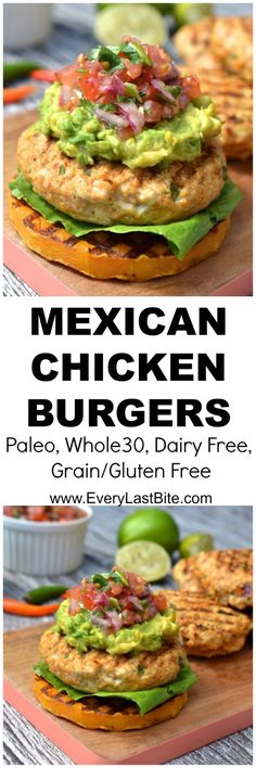 Chicken burgers packed with spicy mexican flavours & topped with salsa, guacamole and served on BBQ butternut squash. (Paleo, G. Paleo Recipes, Mexican Food Recipes, Cooking Recipes, Free Recipes, Vegetarian Mexican, Walnut Recipes, Burger Recipes, Dessert Recipes, Paleo Whole 30