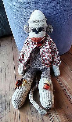 Vintage-17-Sock-Monkey-with-Hat-shirt-skirt-Folk-Art-Stuffed-Animal