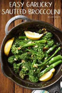 Easy Garlicky Sauteed Broccolini || Quick and Easy recipe || How to cook Broccolini || sauteed broccolini | broccolini recipe side dish #broccolini #vegan #glutenfree #healthyeating #greenvegetables #sides #Italian #garlic #sauteed via @Loves_biscotti