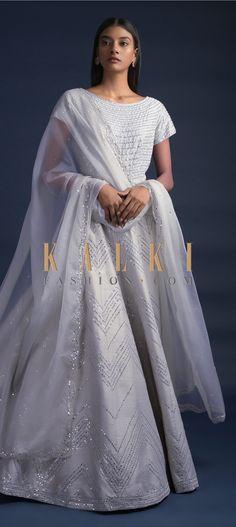 Fog Green Anarkali Suit With Mirror Embroidered Chevron And Striped Pattern Online - Kalki Fashion Wedding Salwar Kameez, Anita Dongre, Anarkali Suits, Indian Designer Wear, Party Wear, Chevron, Bodice, Ethnic, Sequins