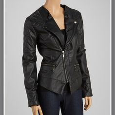 Dollhouse Faux Leather Jacket (See closet for additional photos, has an unnoticeable scuff on sleeve.) Absolutely gorgeous faux leather jacket with elbow patch. The quilted design is so stylish. I'd really love to keep them but they're a bit too big for me.  It's a small, but will also fit a medium for a more fitted look. Used only 2 or 3 times. As good as new!  Dollhouse Jackets & Coats Blazers