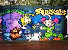 Jeugdsentiment #streetart #streetarteverywhere #spraycan #spraycanart #sprayart #berenkuil #eindhoven #wallart #wallporn #dutchstreetart #graffiti #graffitiporn #graffitiart #snorkels by lenis74