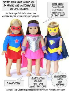 Superhero Outfit 18 inch Doll Clothes PDF Pattern Download | Pixie Faire