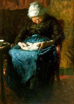Reading and Art: Bernardus Johannes Blommers, Door slaap overmand