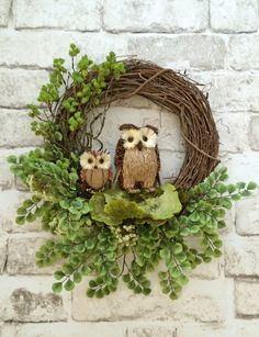 Owl Wreath, Front Door Wreath, Spring Wreath for Door, Spring Door Wreath, Spring Grapevine Wreath, Spring Silk Flower Wreath -  This gorgeous owl wreath was handmade using a grapevine wreath base adorned with two adorable owls, huge natural green dried sponge mushrooms, and lots of lovely greenery. This wreath would look amazing displayed on your wall, mirror, mantel, or front door. It is the perfect wreath to display anytime of year! • Already made and ready to ship!  • Measures…