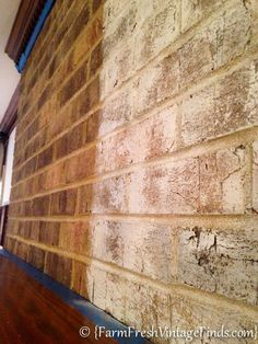 Always wondered how to lightly whitewash dated brick. Old white Annie Sloan chalk paint - white to water w/ brush & rag & spray water Fireplace Update, Paint Fireplace, Fireplace Remodel, White Wash Brick Fireplace, Painting Brick Fireplaces, White Wash Brick Exterior, Fireplace Whitewash, Fireplace Ideas, Fireplace Mantels