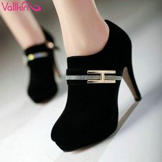 VALLKIN New Fashion Fashion Sexy Lady High Heel Bow not Pumps Ankle Shoes Women's Pumps Wedding Party Shoes Size 34-40