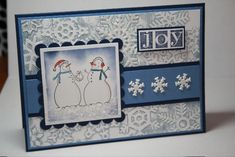 Joy by - Cards and Paper Crafts at Splitcoaststampers Christmas Snowman, Winter Christmas, Handmade Christmas, Snowflake Cards, Snowflakes, Scrapbook Cards, Scrapbooking, Holiday Cards, Christmas Cards