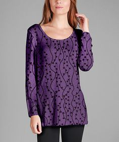 Love this Purple & Black Vines Rounded-Hem Tunic - Plus Too on #zulily! #zulilyfinds